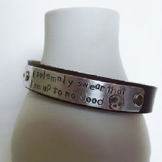 "Gorgeous Handmade Quote ""I solemnly swear I am .."" Leather Statement Cuff Bangle"